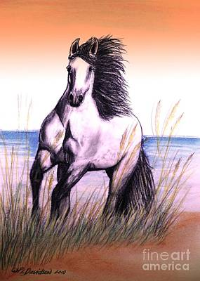 Lusitano Thunder By The Sea Art Print by Patricia L Davidson