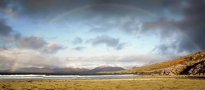 Photograph - Luskentyre Beach Panorama With Rainbow by Nancy Lisa Phillips