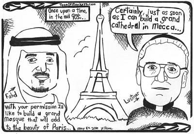 Lustiger And King Fahd In Paris Art Print by Yonatan Frimer Maze Artist