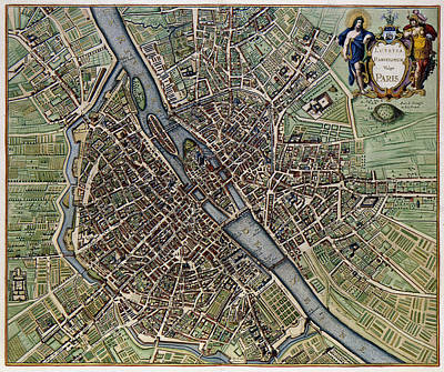 Digital Art - Lutetia Parisiorum Vulgo Paris - 1657 Antique Map Of Paris Joannes Janssonius by Serge Averbukh