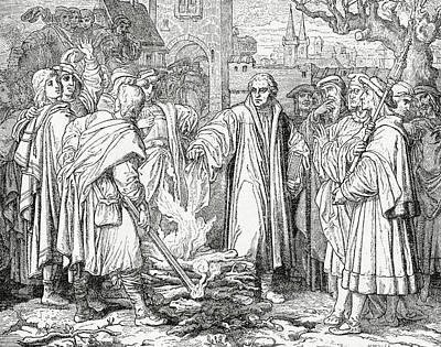Papal Drawing - Luther Burning The Papal Bull by English School