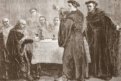 Theology Drawing - Luther Challenging Carlstadt To Write Against Him by English School