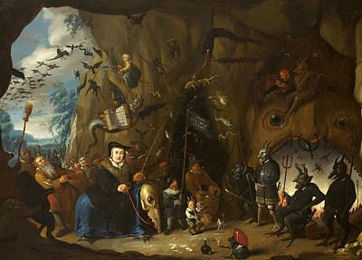 Christian Artwork Painting - Luther In Hell by Egbert van Heemskerck