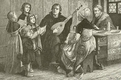 Lute Drawing - Luther In The Midst Of His Family by American School