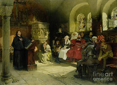 Priest Painting - Luther Preaches Using His Bible Translation While Imprisoned At Wartburg by Hugo Vogel