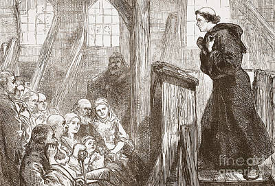 Theology Drawing - Luther Preaching In The Old Wooden Church At Wittemberg by English School