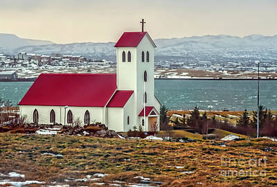 Digital Art - Lutheran Church In Iceland by Maggie Magee Molino