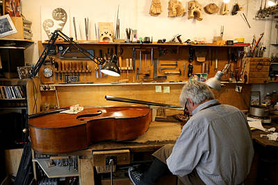 Upright Bass Photograph - Luthier 1 by Andrew Fare