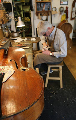 Upright Bass Photograph - Luthier 3 by Andrew Fare