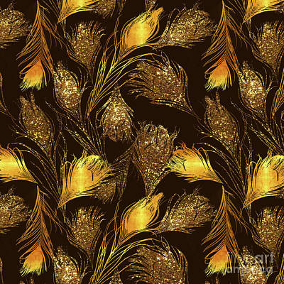 Disco Painting - Luxe Dark Chocolate Brown And Gold Feather Print, Pattern by Tina Lavoie