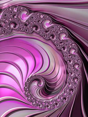 Digital Art - Luxe Pink Fractal Spiral by Matthias Hauser
