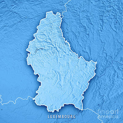 Digital Art - Luxembourg Country 3d Render Topographic Map Blue Border by Frank Ramspott