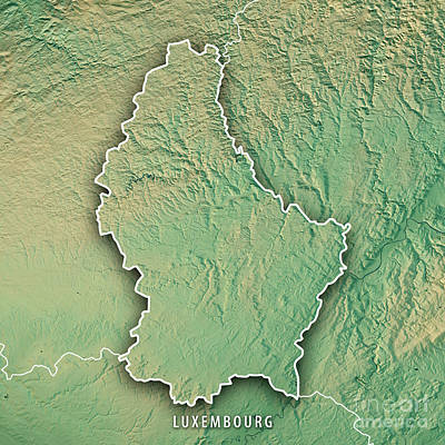 Digital Art - Luxembourg Country 3d Render Topographic Map Border by Frank Ramspott