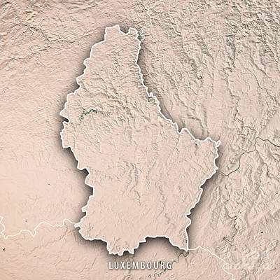 Digital Art - Luxembourg Country 3d Render Topographic Map Border Neutral Bord by Frank Ramspott
