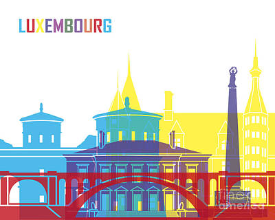 Luxembourg Painting - Luxembourg Skyline Pop by Pablo Romero