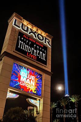 Las Vegas Photograph - Luxor Pyramid Casino Sign At Night by Aloha Art