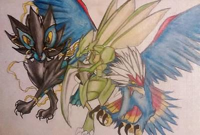 Water Droplets Sharon Johnstone - Luxray, Scyther, and Braviary by Nathaniel Baney