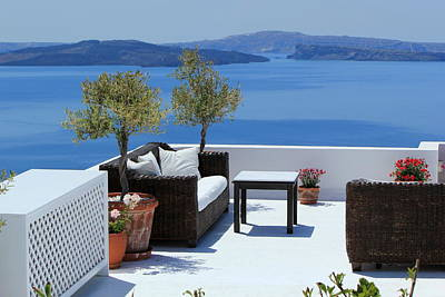 Photograph - Luxury Balcony At Oia, Santorini, Greece by Elenarts - Elena Duvernay photo