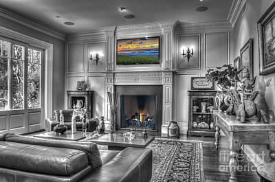Photograph - luxury Black and White Contemporary interior  2 by David Zanzinger