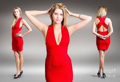 Photograph - Luxury Female Fashion Model In Classy Red Dress by Jorgo Photography - Wall Art Gallery
