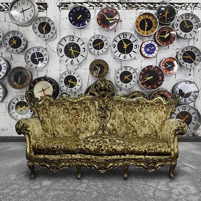 Luxury Sofa  In Retro Room Print by Setsiri Silapasuwanchai