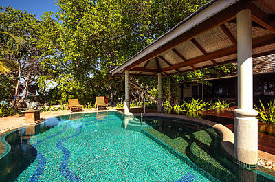 Luxury Suit With Private Swimming Pool In Mladivian Resort Art Print by Jenny Rainbow