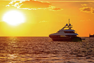 Photograph - Luxury Yacht On Open Sea At Golden Sunset by Brch Photography