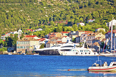 Photograph - Luxury Yachts In Vis Harbor Summer View by Brch Photography