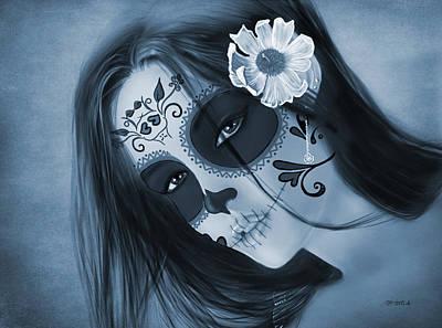 Monotone Digital Art - Luz Inmortal Day Of The Dead Sugar Skull Monochromatic  by Maggie Terlecki