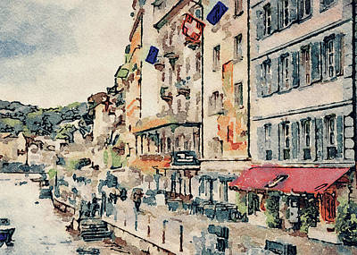 Digital Art - Luzern Watercolor 2 by Yury Malkov