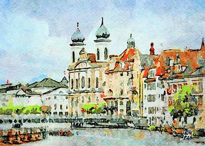 Digital Art - Luzern Watercolor 3 by Yury Malkov