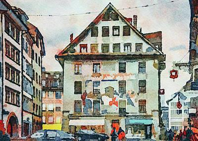 Digital Art - Luzern Watercolor 4 by Yury Malkov