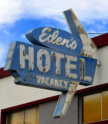 Photograph - Edens Hotel Sign Las Vegas by David Lee Thompson