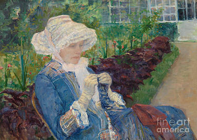 Allotment Painting - Lydia Crocheting In The Garden At Marly by Mary Stevenson Cassatt