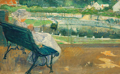 Embroidered Painting - Lydia Seated On A Porch Crocheting by Mary Stevenson Cassatt