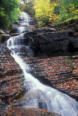 Lye Brook Falls Autumn Art Print by John Burk