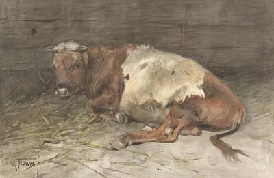 Mauve Painting - Lying Bull by Anton Mauve