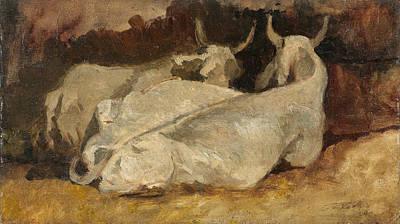 Giovanni Fattori Painting - Lying Cows by Giovanni Fattori