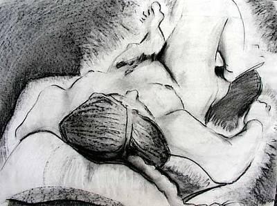 Brad Wilson Drawing - Lying Down Nude by Brad Wilson