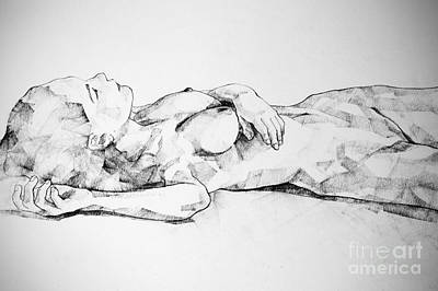 Drawing - Lying Girl Charcoal Close Up Body Drawing by Dimitar Hristov