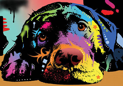 Colorful Dog Wall Art - Painting - Lying Lab by Dean Russo Art