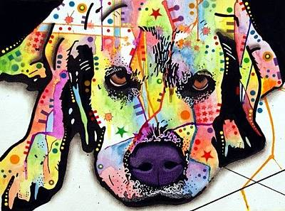 Lab Mixed Media - Lying Labrador by Dean Russo