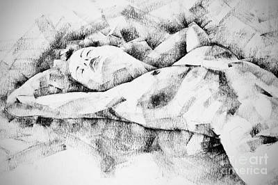 Lying Woman Figure Drawing Art Print