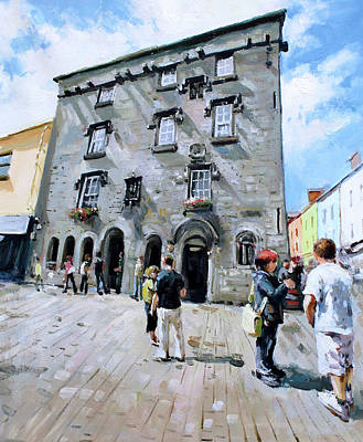 Stone Buildings Painting - Lynches Castle Galway City by Conor McGuire