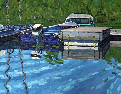 Motor Boats Painting - Lyndhurst Blue Boat by Phil Chadwick