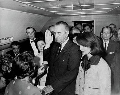 Photograph - Lyndon Johnson Receiving Oath Of Office After Kennedy Assassination  by Cecil W Stoughton
