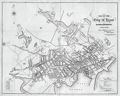 Photograph - Lynn Ma 1876 Historical Map Black And White by Toby McGuire