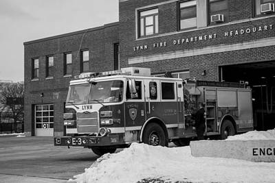 Photograph - Lynn Ma Fire Truck Fire Station Black And White by Toby McGuire