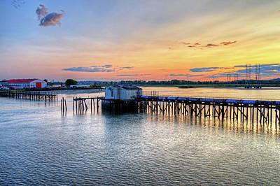 Photograph - Lynn Ma Sunset Graffiti Pipe Pylons by Toby McGuire