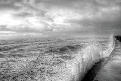 Photograph - Lynn Shore Drive Breakwater Kings Beach Lynn Ma Black And White by Toby McGuire